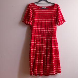 Anthropologie Red T-shirt Stripe Dress